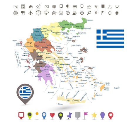 Greece map with flag and navigation icons isolated on white.