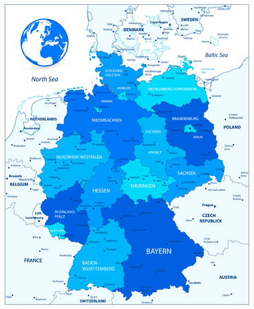 Administrative divisions blue map of Germany. Vector illustration.  イラスト・ベクター素材