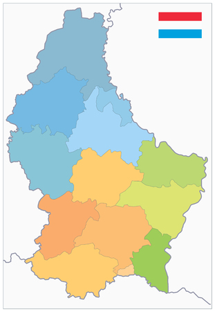 Administrative divisions map of Luxembourg. No text. Highly detailed vector illustration. Illustration