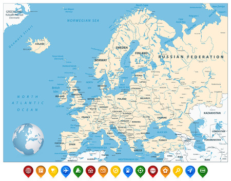 Detailed Europe Map and Colorful Map Markers. Detailed vector illustration of Europe Map.