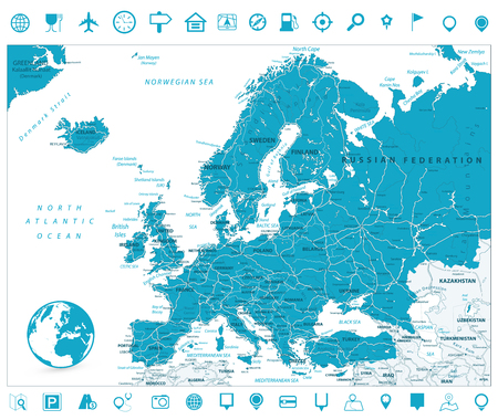 Europe Road Map and Navigation Icons. Detailed vector illustration of Europe Map.