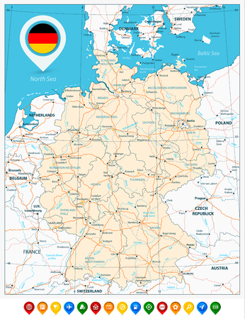 Road map of Germany and colored map pointers. Vector illustration.