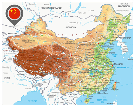 China Physical Map. High detailed China Relief map with labeling.