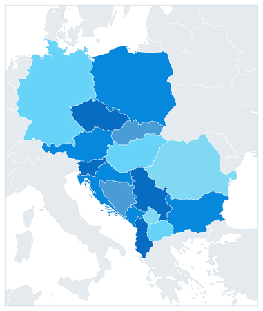 Central Europe Map In Colors Of Blue. No text. Vector illustration.