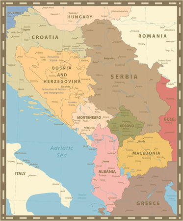 Central Balkan Region Map Vintage Color. Vector illustration. Stock Illustratie