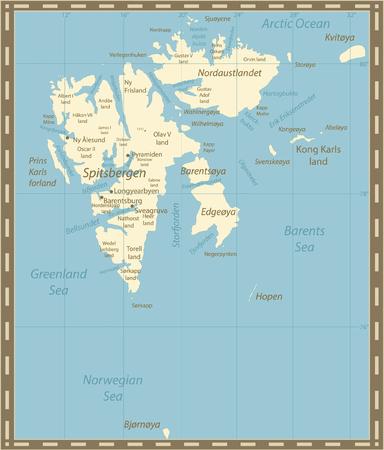 Svalbard Map Vintage Colors. Vector illustration.
