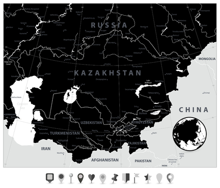 Central Asia Map Black Color and Flat Map Pointers. Vector illustration.