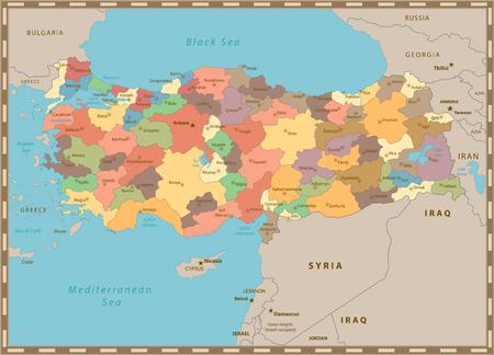 Türkei-Vintage-Farbkarte mit getrennten Schichten. Vektorgrafik