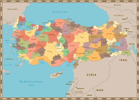 Turkey vintage color map with separated layers. Imagens - 113955633