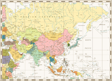 Old vintage map of Asia with rivers, lakes and elevations.