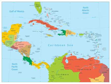 Map of the Caribbean. Highly detailed vector illustration.