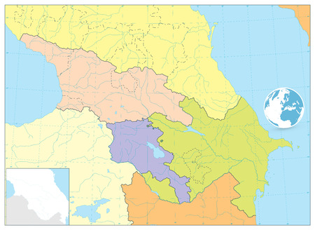 Caucasus Political Map. No text. Detailed vector map of the Caucasus.  イラスト・ベクター素材