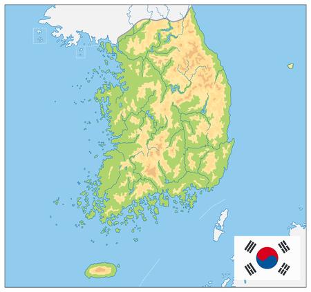 South Korea Physical Map. No text. Vector illustration.