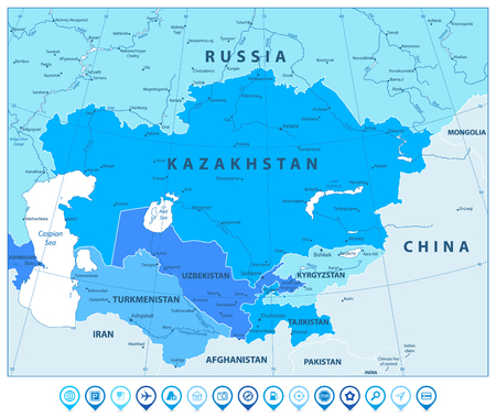 Central Asia Political Map In Colors Of Blue and map pointers. Vector illustration. Illustration