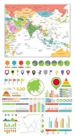South Asia Map and Infographics Design Elements. Business template in flat style for presentation, booklet, website and other creative projects.