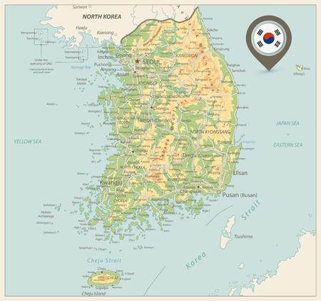 South Korea Physical Map.Retro colors. Vector illustration.