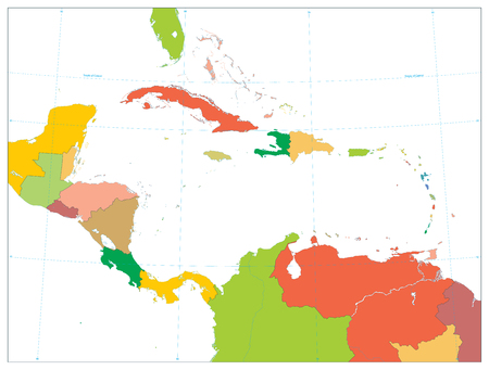 Political Map of the Caribbean isolated on white. No text. Highly detailed vector illustration.