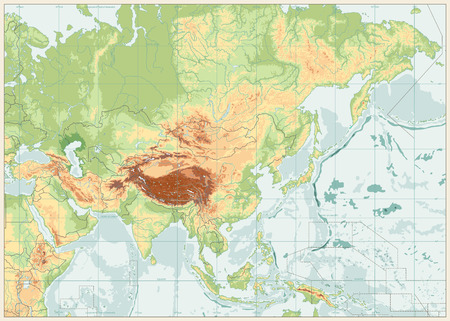 Asia Physical Map Retro Colors. No text