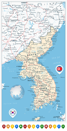 Korean Peninsula Road Map and Map Pointers with roads, railroads, water objects, cities and capitals.