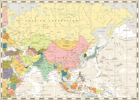 Old vintage map of Asia and bathymetry with rivers, lakes and elevations. Ilustrace