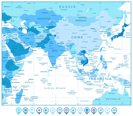South Asia Map and Map Markers in Colors of Blue. Detailed vector map of South Asia.  イラスト・ベクター素材
