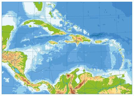 La mappa fisica dei Caraibi. Nessun testo. Illustrazione vettoriale altamente dettagliata.