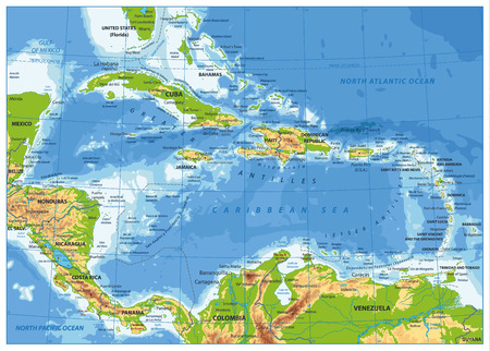 The Caribbean Physical Map. Highly detailed vector illustration.