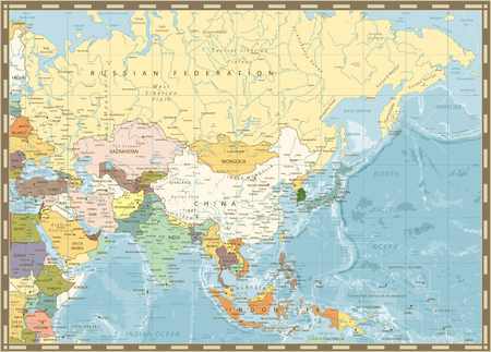 Old retro map of Asia and bathymetry with rivers, lakes and elevations.