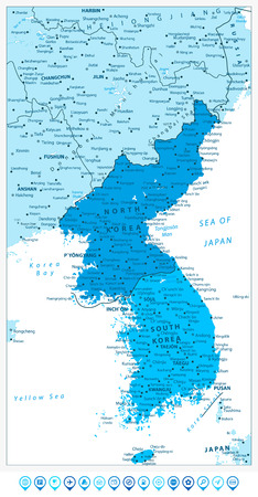Korean Peninsula Map in colors of blue and blue map pointers, North And South Korea Map with cities and capitals.