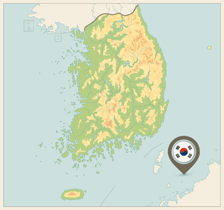 South Korea Physical Map. Retro colors. No text. Vector illustration.