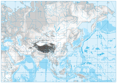 White and grey color physical map of Asia with rivers, lakes and elevations. No text. Illustration