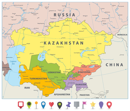 Central Asia Political Map and flat map icons. Vector illustration.