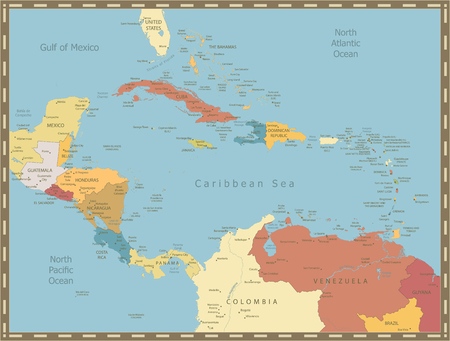 Vintage Map of the Caribbean. Highly detailed vector illustration. Ilustrace