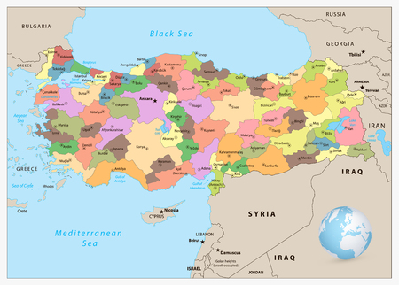 Turkey detailed administrative map with separated layers. Illustration