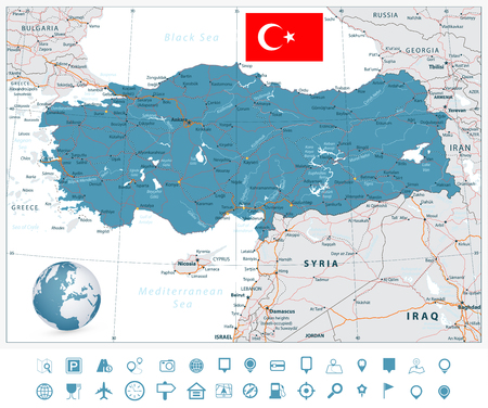 Detailed road vector map of Turkey and navigation icons with separated layers.