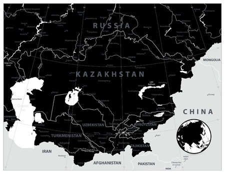 Central Asia Map Black Color. Vector illustration. Ilustrace