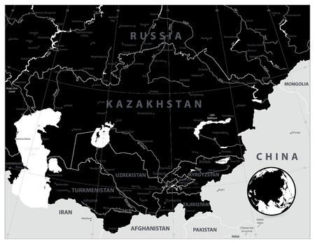 Central Asia Map Black Color. Vector illustration. Illustration