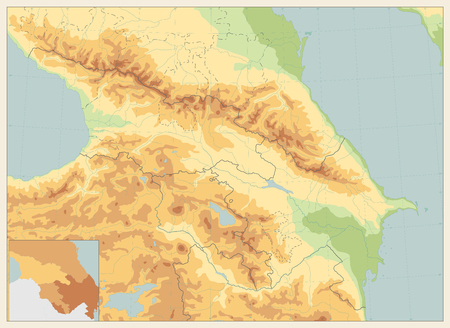 Caucasus Physical Map Retro Colors. No text. Detailed vector map of the Caucasus. Ilustrace