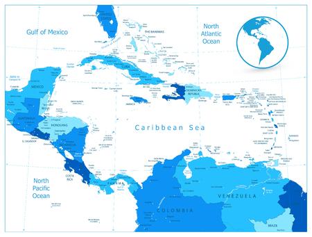 Mappa blu dei Caraibi. Illustrazione vettoriale altamente dettagliata.