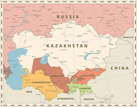 Carte Politique De L'Asie Centrale Couleurs Rétro. Illustration vectorielle.