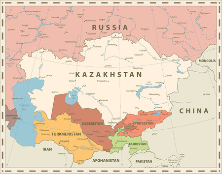 Central Asia Political Map Retro Colors. Vector illustration.