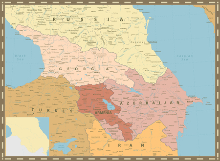 Caucasus Political Map Vintage Colors. Detailed vector map of the Caucasus.