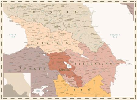 Caucasus Political Map Retro Colors. Detailed vector map of the Caucasus.