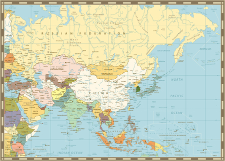 Old retro map of Asia with rivers, lakes and elevations.