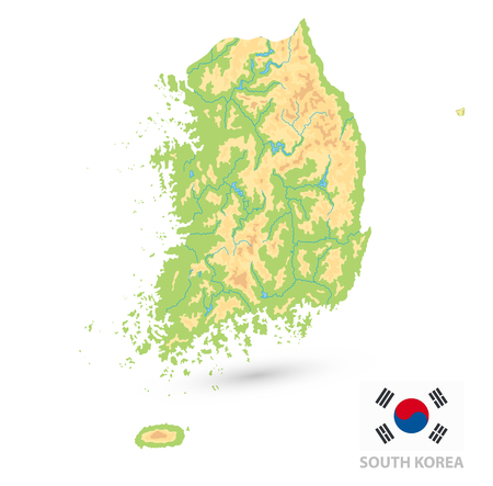 South Korea Physical Map Isolated On White. No text. Vector illustration.