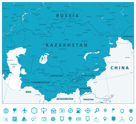 Central Asia Political Map and Navigation icons. Vector illustration.