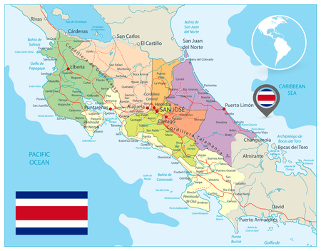 Costa Rica Administrative Map. Detailed vector administrative map of Costa Rica with major cities, roads and water objects.