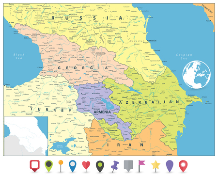 Caucasus Political Map and Flat Map Markers. Detailed vector map of the Caucasus.