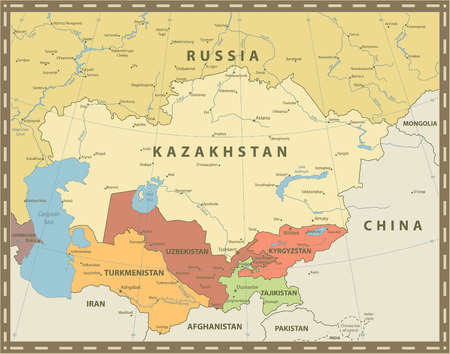 Central Asia Political Map Vintage Color. Vector illustration.