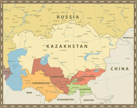 Central Asia Political Map Vintage Color. Vector illustration.